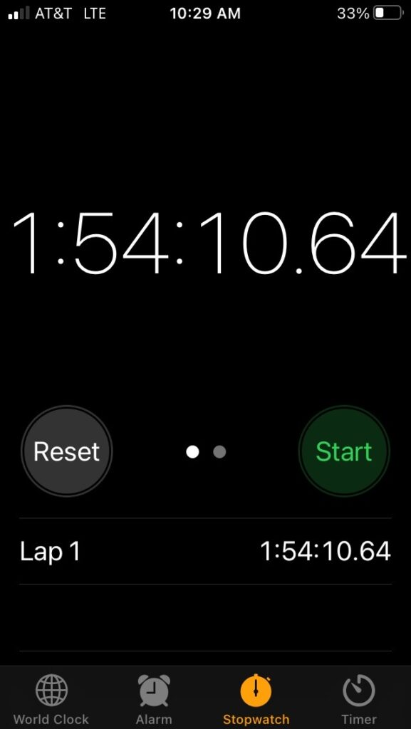 A stopwatch app on the iPhone displaying 1:54